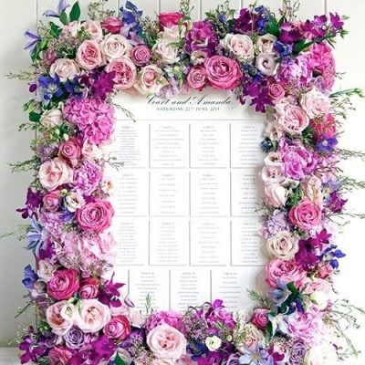 Table plan with Sweet Avalanche created by Philippa Craddock Flowers and Weddings by Bruce Russel.