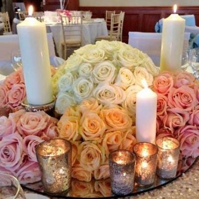 The Meijer Roses collection, Avalanche+, Sweet Avalanche and Pearl Avalanche, in a centerpiece design by Blomster Designs!