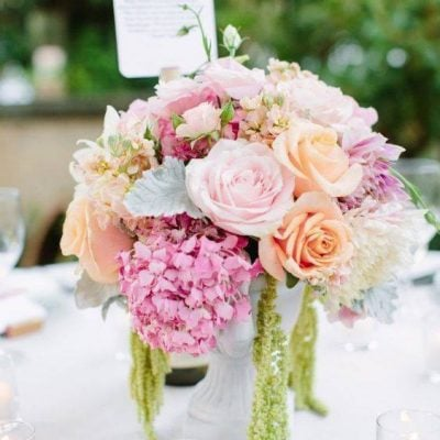 Romantic centerpieces for a wedding dinner with Sweet Avalanche and Pearl Avalanche byMeijer Roses! (photo by Jessica Burke)