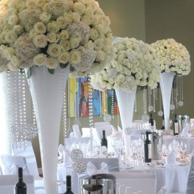 Wedding dinner decorated with Avalanche+ designed by Red Floral Architecture!