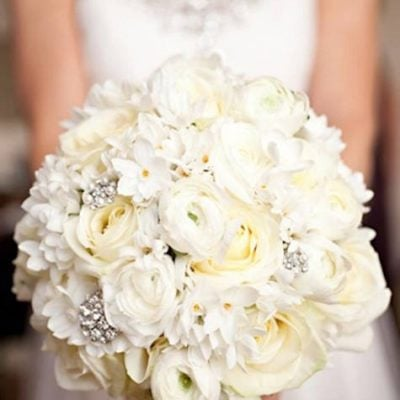 Beautiful bridal bouquet styled with Avalanche+