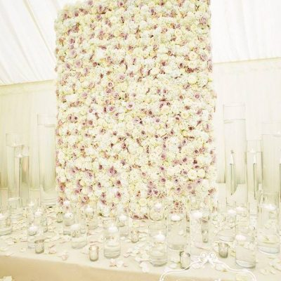 Flower wall designed by Flowers by Jemma Holmes using Sweet Avalanche and Avalanche by Meijer Roses