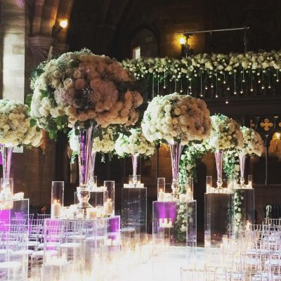 The Great Hall at the Peckforton Castle styled by Red Floral Architecture with Avalanche roses