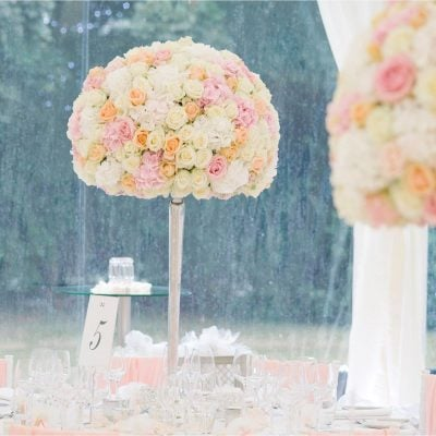 Pastel centerpieces designed by Amie Bone Flowers using Sweet Avalanche, Pearl Avalanche and Avalanche