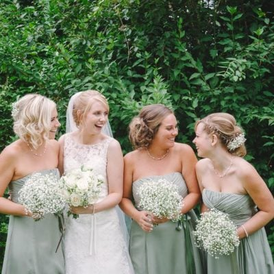 The bridesmaids bouquets were made of baby's breath.