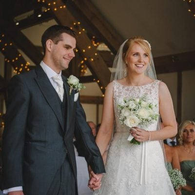 Happy couple. The groom's buttonhole and the bridal bouquet went together perfectly.